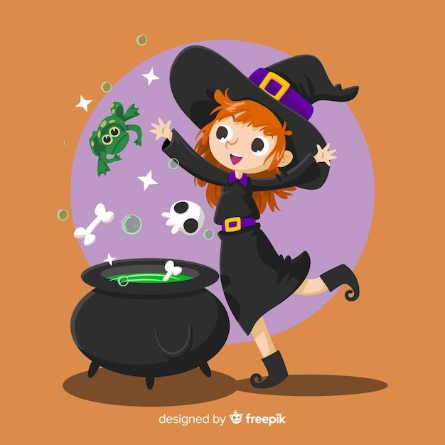Poção, dia das bruxas, fundo Vetor grátis