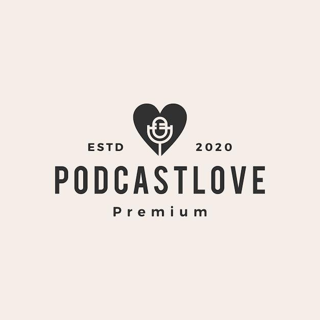 Podcast ama ilustração do ícone do logotipo vintage Vetor Premium