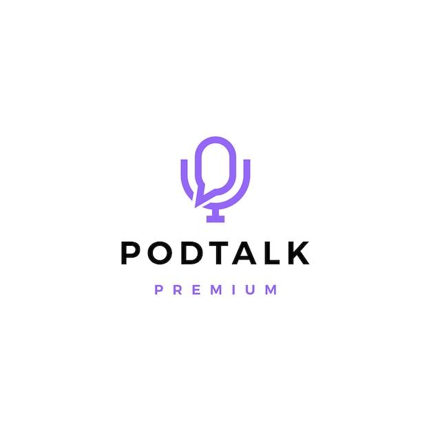 Podcast microfone conversa bate-papo bolha logotipo icon ilustração Vetor Premium