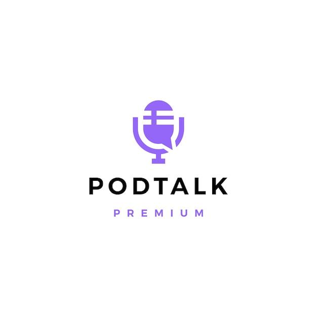 Podcast microfone conversa bate-papo bolha logotipo Vetor Premium