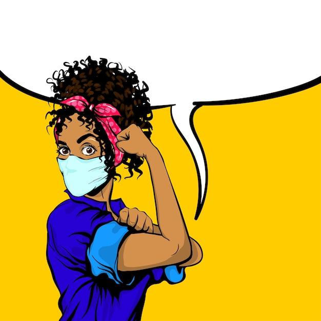 Podemos fazer isso mulher negra africana em poster retro de máscara médica Vetor Premium
