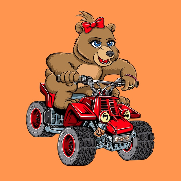 Poder de moto de urso Vetor Premium