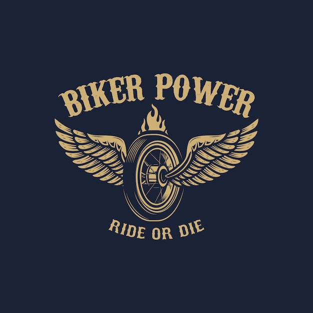 Poder do motociclista. roda alada em estilo dourado. elemento para logotipo, etiqueta, emblema, sinal. imagem Vetor Premium