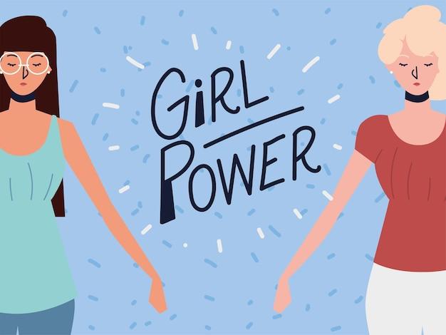 Poder feminino, duas mulheres fortes posando Vetor Premium
