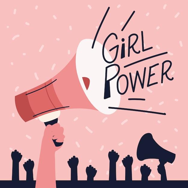 Poder feminino, feminismo de mãos erguidas em megafone Vetor Premium