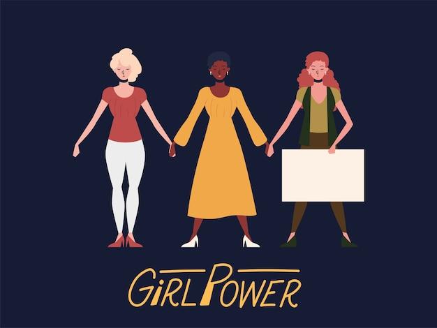 Poder feminino, grupo diversificado de mulheres com prancha Vetor Premium