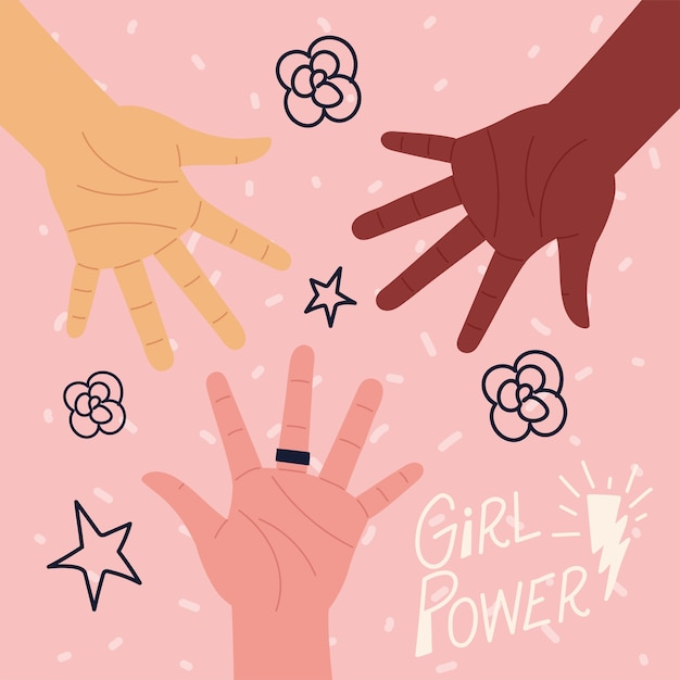 Poder feminino, letras de motivação com mãos de mulher Vetor Premium