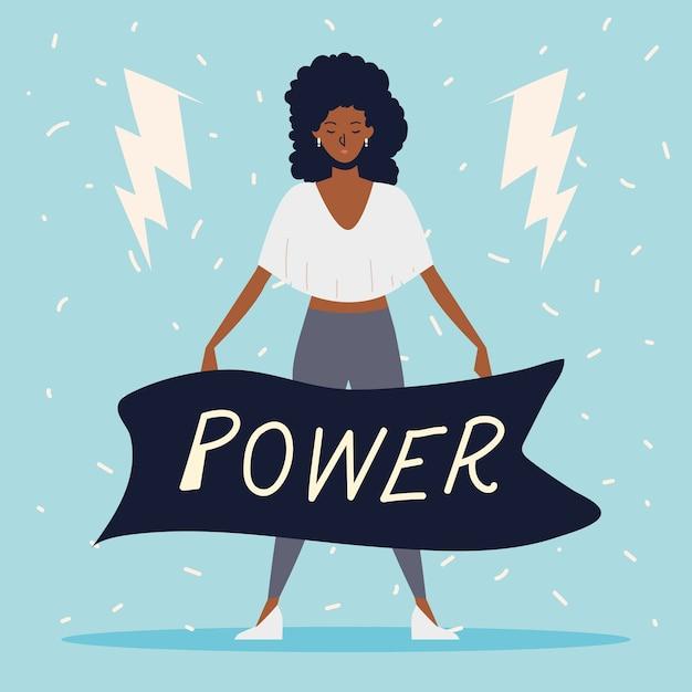 Poder feminino, mulher afro-americana com mensagem de poder na faixa de opções Vetor Premium