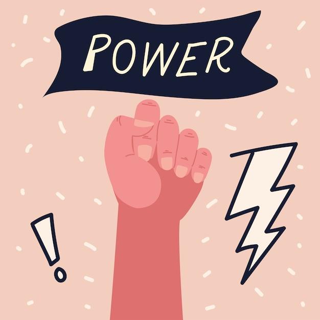 Poder feminino, mulher levantada mão forte atitude Vetor Premium