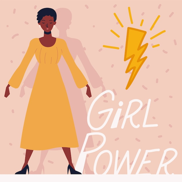 Poder feminino, personagem feminina afro-americana Vetor Premium