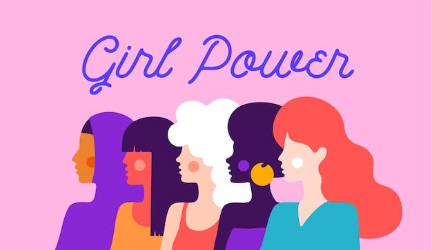 Poder feminino. personagem plana moderna. Vetor Premium