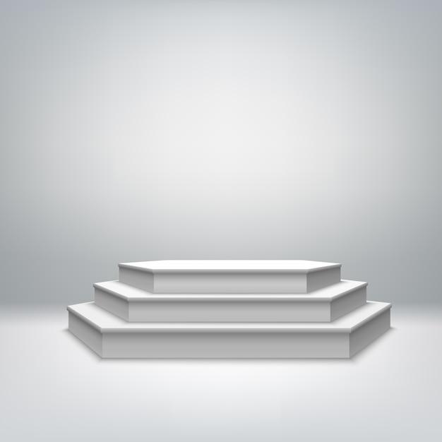 Pódio de palco branco em branco Vetor grátis