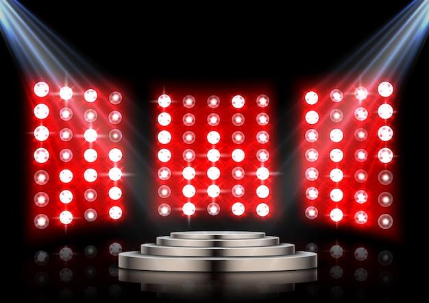 Pódio de palco com holofotes e fundo stagelight vermelho Vetor Premium