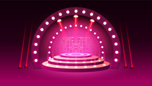 Pódio de palco com iluminação Vetor Premium