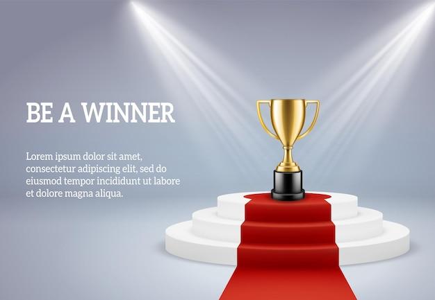 Pódio de prêmio com ilustração de troféu Vetor Premium
