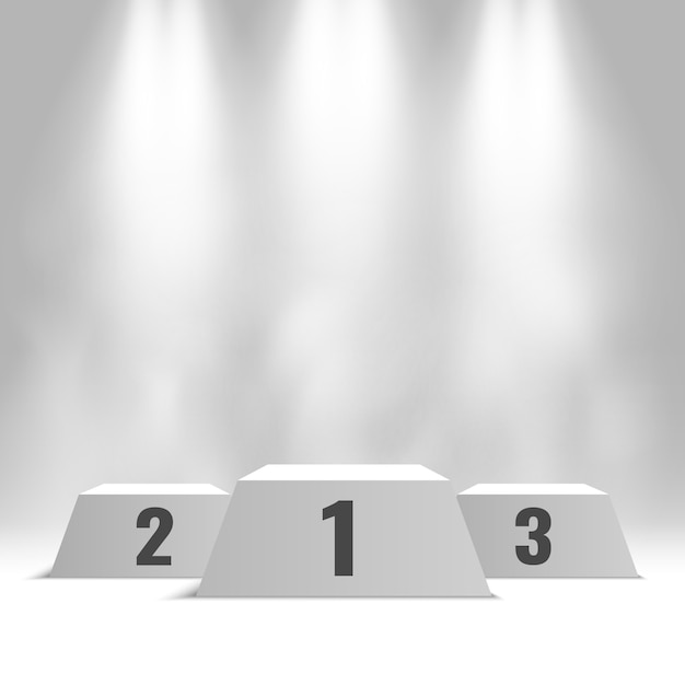 Pódio de vencedores branco com holofotes e vapor. pedestal. Vetor Premium