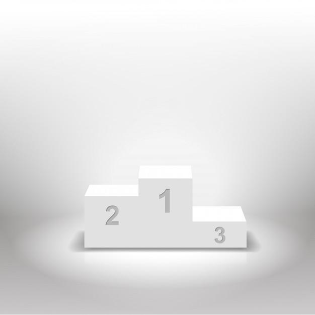 Pódio de vencedores branco para conceitos de negócios Vetor Premium