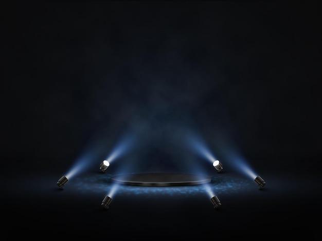 Pódio de vetor com iluminação. palco, pódio, cena para cerimônia de premiação com holofotes. Vetor Premium