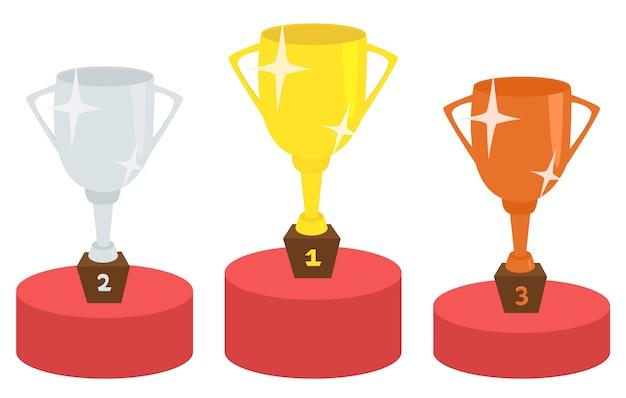 Pódio do vencedor com o conceito de vitória de copos de troféu Vetor Premium