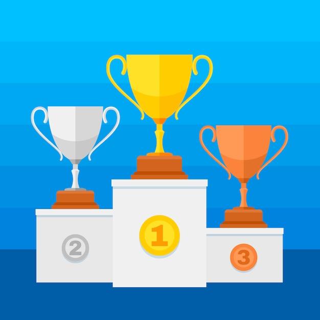Pódio dos vencedores da competição com copos do troféu do ouro, da prata e do bronze Vetor Premium
