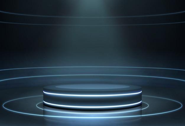 Pódio iluminado vazio realista Vetor grátis
