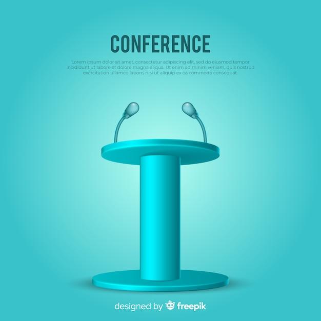 Pódio realista para fundo azul de conferência Vetor grátis