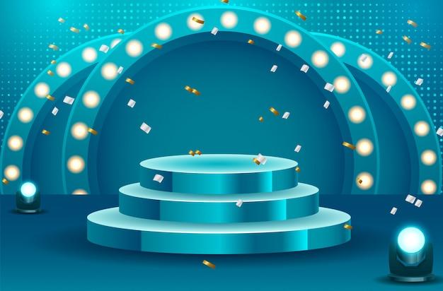 Pódio redondo abstrato com tapete branco iluminado com holofotes. conceito de cerimônia de premiação. palco. ilustração vetorial Vetor Premium
