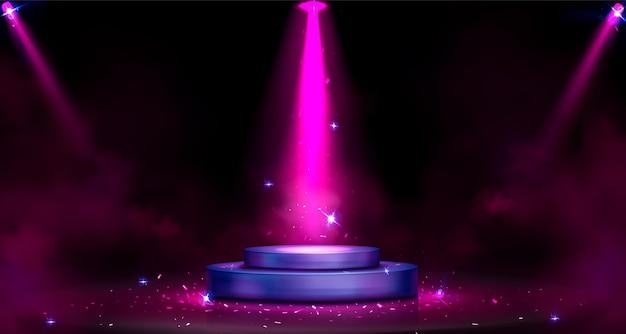 Pódio redondo com iluminação de holofotes, fumaça e faíscas Vetor grátis