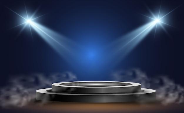 Pódio redondo, pedestal ou plataforma, iluminado por holofotes ao fundo. ilustração. luz brilhante. luz de cima. local de publicidade Vetor Premium