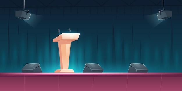 Pódio, tribuna com microfones no palco para palestrante em conferência, palestra ou debate. ilustração dos desenhos animados da cena vazia para apresentação e evento público com púlpito e holofotes Vetor grátis