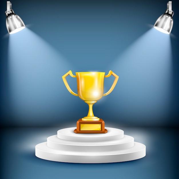 Podium brilhante com copo de troféu Vetor Premium