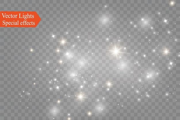 Poeira em um background.bright estrelas transparentes. Vetor Premium