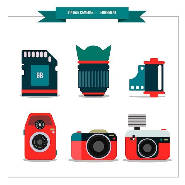 Polaroids e elementos fotográficos Vetor grátis