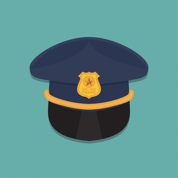 Polícia cap ícone em um design plano Vetor Premium