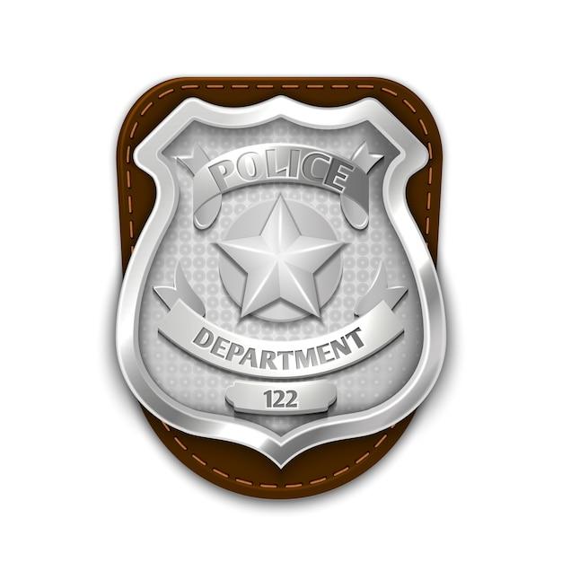 Polícia de aço de prata, emblema da segurança isolado na ilustração branca do vetor do fundo. emblema para ela Vetor Premium