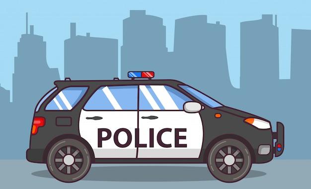 Polícia de carro off-road suv. Vetor Premium