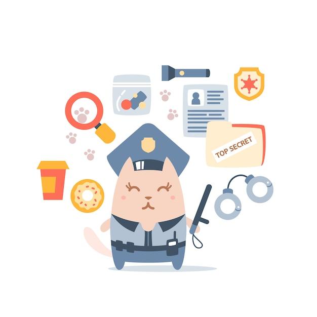 Polícia de gato fêmea personagem no cap do oficial segurando uma vara de polícia Vetor Premium