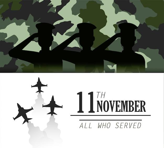 Polícia de veteranos com exército de aviões militares Vetor Premium