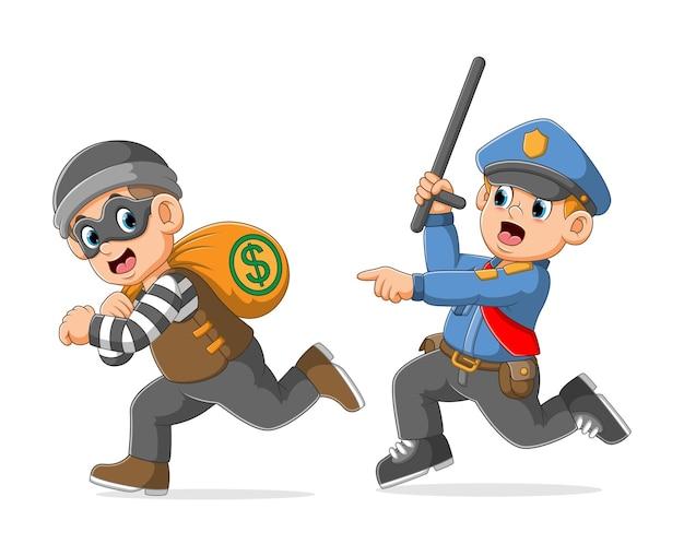 Polícia persegue captura o ladrão segurando uma bolsa de dinheiro ilustração Vetor Premium