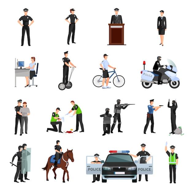 Polícia pessoas no escritório e fora de conjunto de ícones de cores planas Vetor grátis
