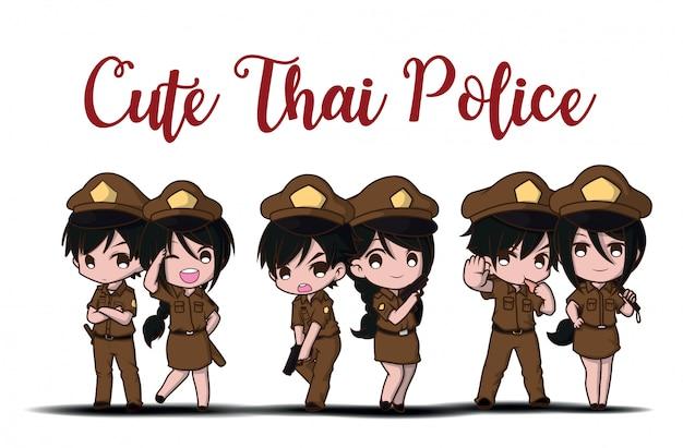 Polícia tailandesa bonito que trabalha no uniforme que está feliz Vetor Premium