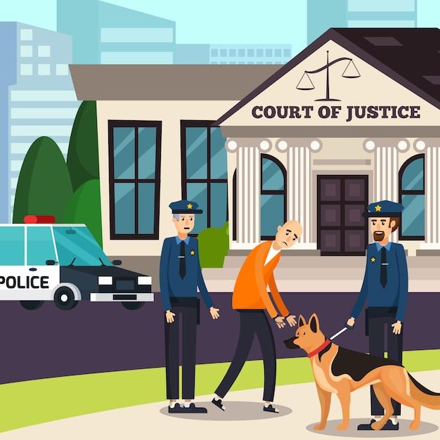Policiais e suspeita de composição ortogonal Vetor grátis