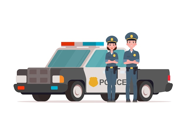 Policiais, homem e mulher, perto de um carro da polícia Vetor Premium