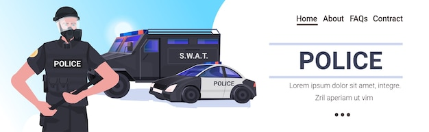 Policial com equipamento tático completo policial de choque segurando cassetete Vetor Premium