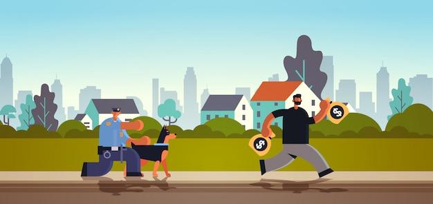 Policial com pastor alemão perseguindo criminoso ladrão fugindo de policial com cão segurança autoridade justiça lei serviço conceito Vetor Premium