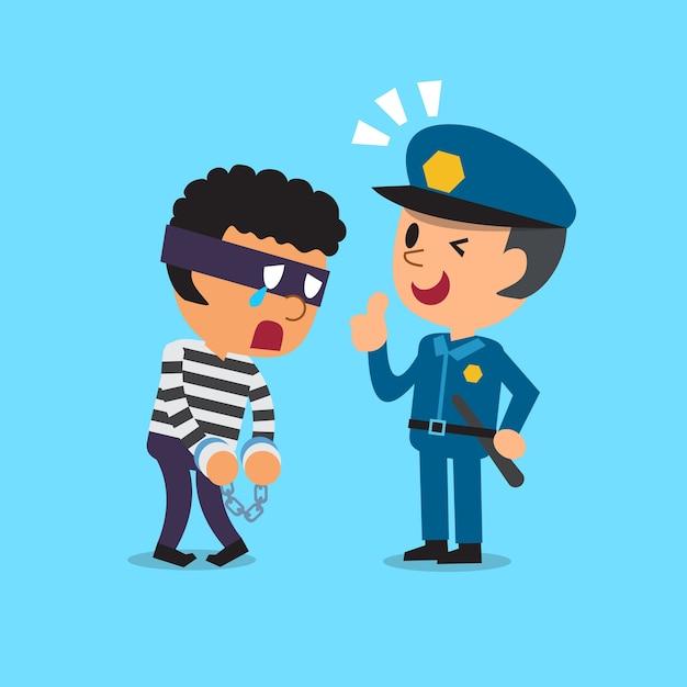 Policial de desenho animado e ladrão Vetor Premium