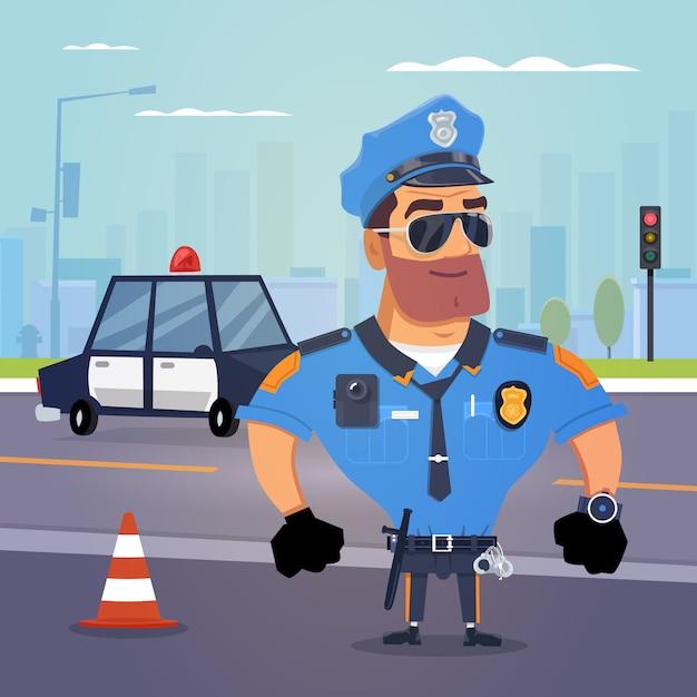 Policial de plantão Vetor Premium