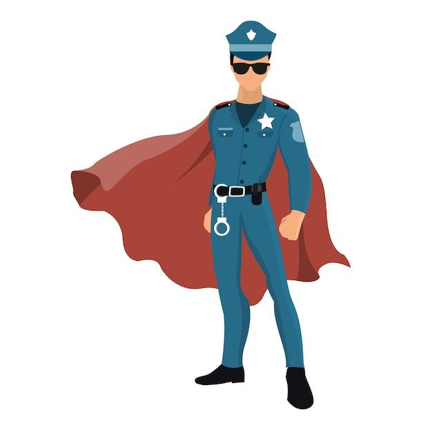 Policial de super-herói dos desenhos animados com capa vermelha. Vetor Premium
