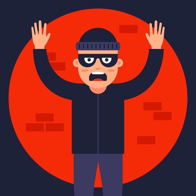Policial pegou o ladrão no centro das atenções. encontre o ladrão mascarado. ilustração plana. Vetor Premium
