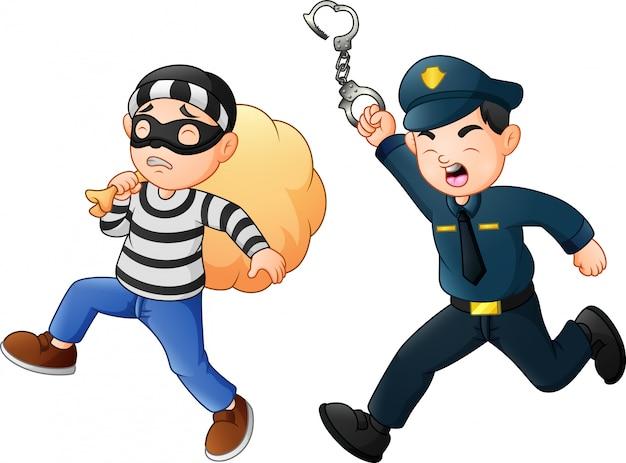 Policial tenta perseguir um ladrão Vetor Premium